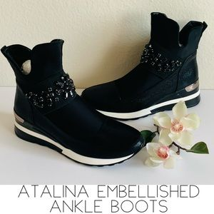 Atalina Ankle Boots Black Embellished New